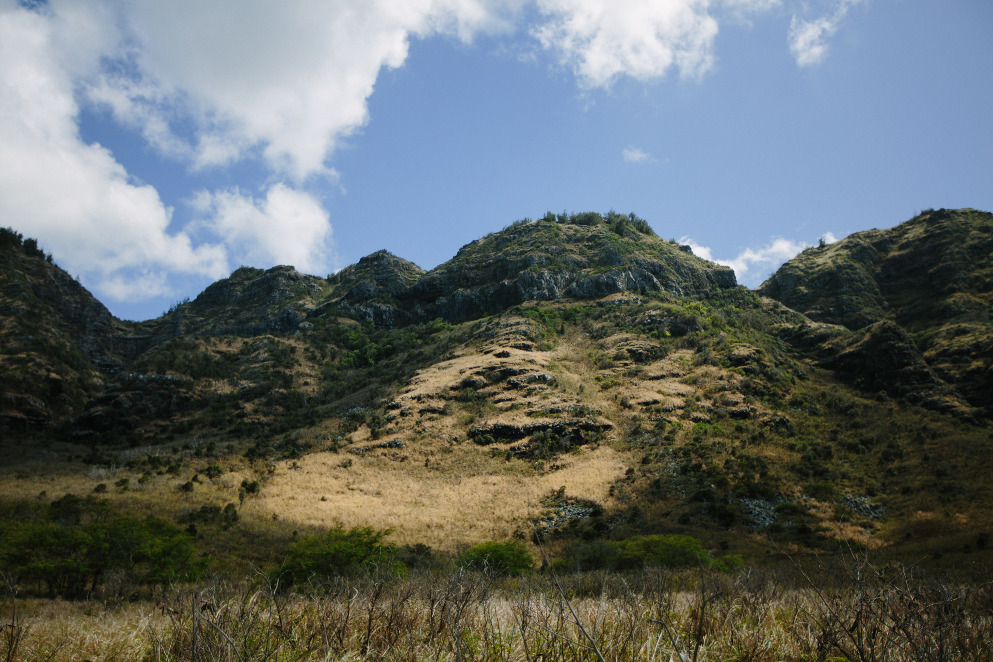 Climbing at Mokule'ia means hiking to the top of a mountain first!