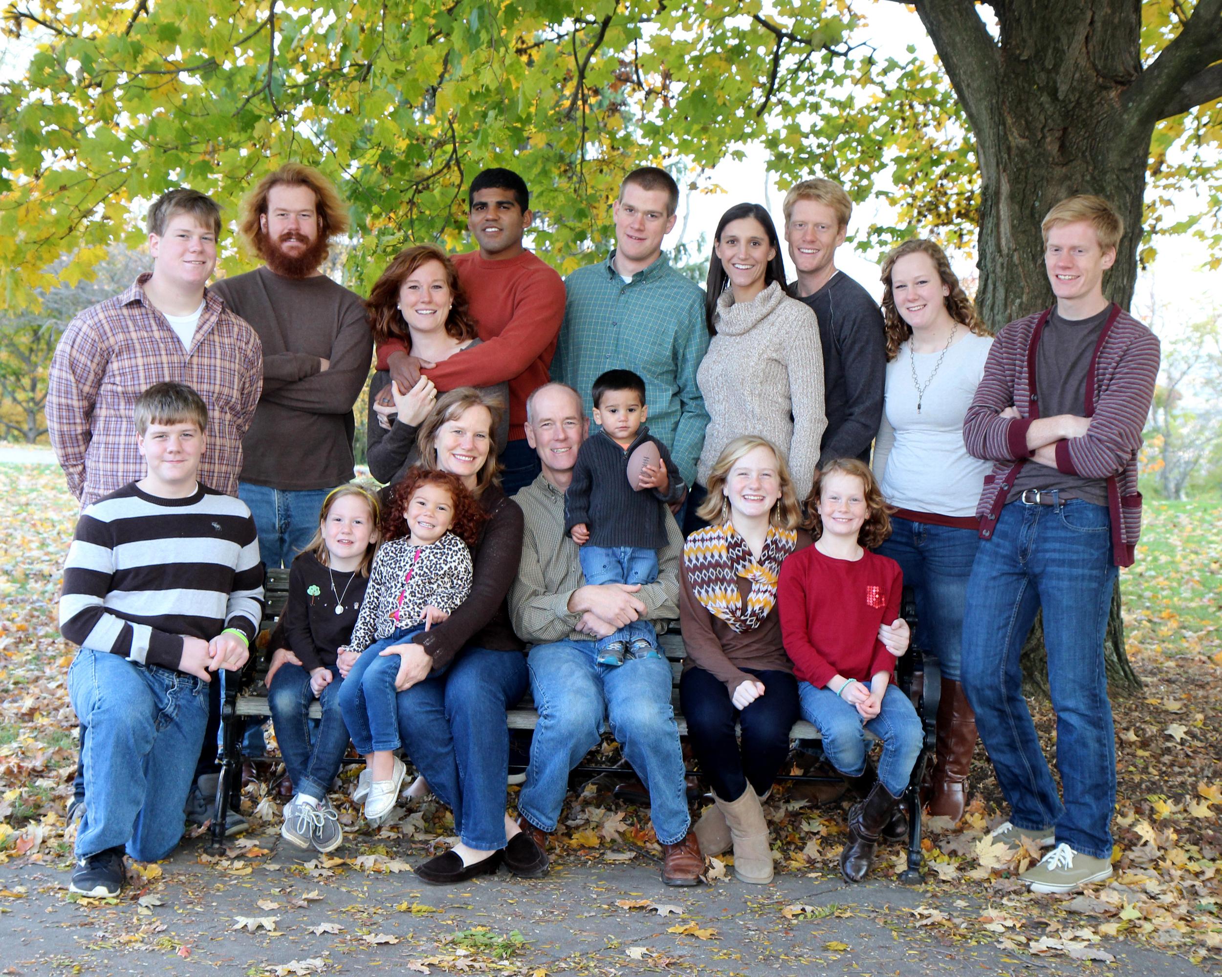 family at bench