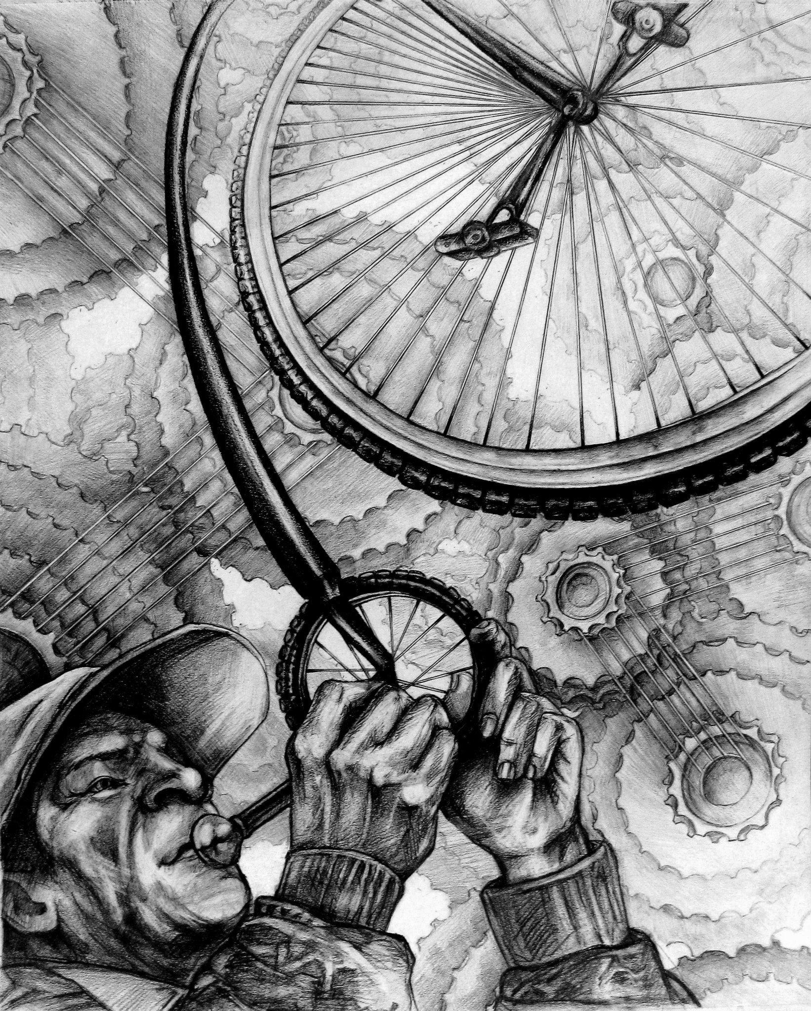 RISD BIKE - Submission for RISD's prompt: Draw A Bike18' x 24' Graphite