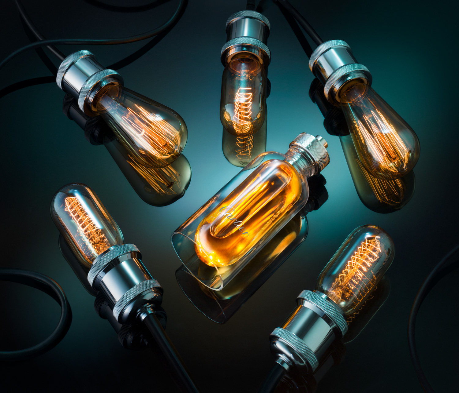 Still Life Photography Light Bulbs Cartier From Above - Lux Studio