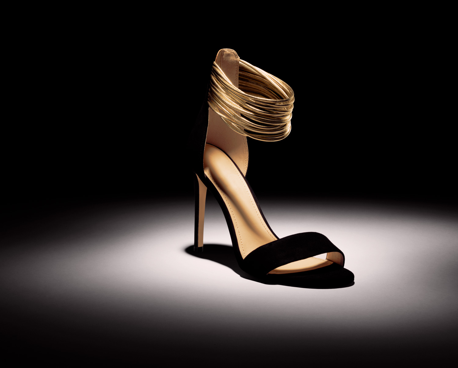Still Life Photography Black and gold High Heel - Lux Studio