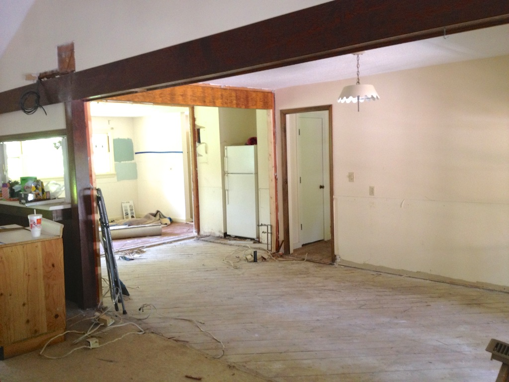Kitchen and dining room walls have been removed.