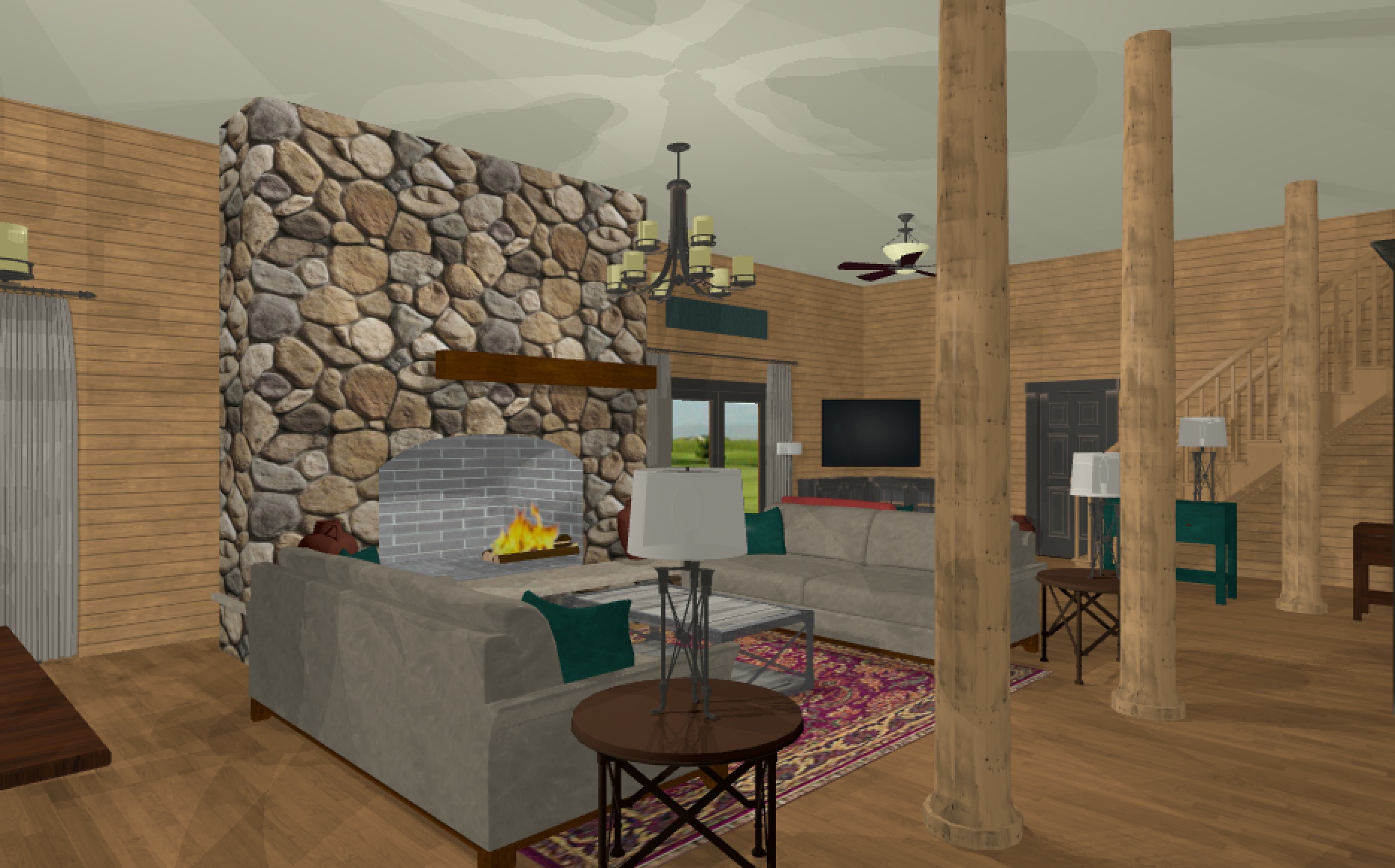 One of the early virtual drawings on this project. It helps so much to see ideas in the space so that we can visualize the final look. As you can see, we have changed the furniture arrangement from the early discussions.