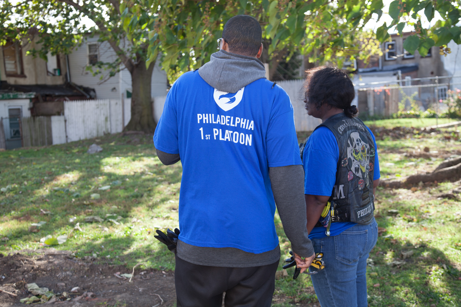 The Mission Continues (veteran group) lot cleanup at on Veteran's Day weekend