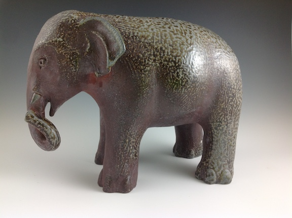 Penelope Dew's Elephant is an example of the surface created in the  Noborigama kiln