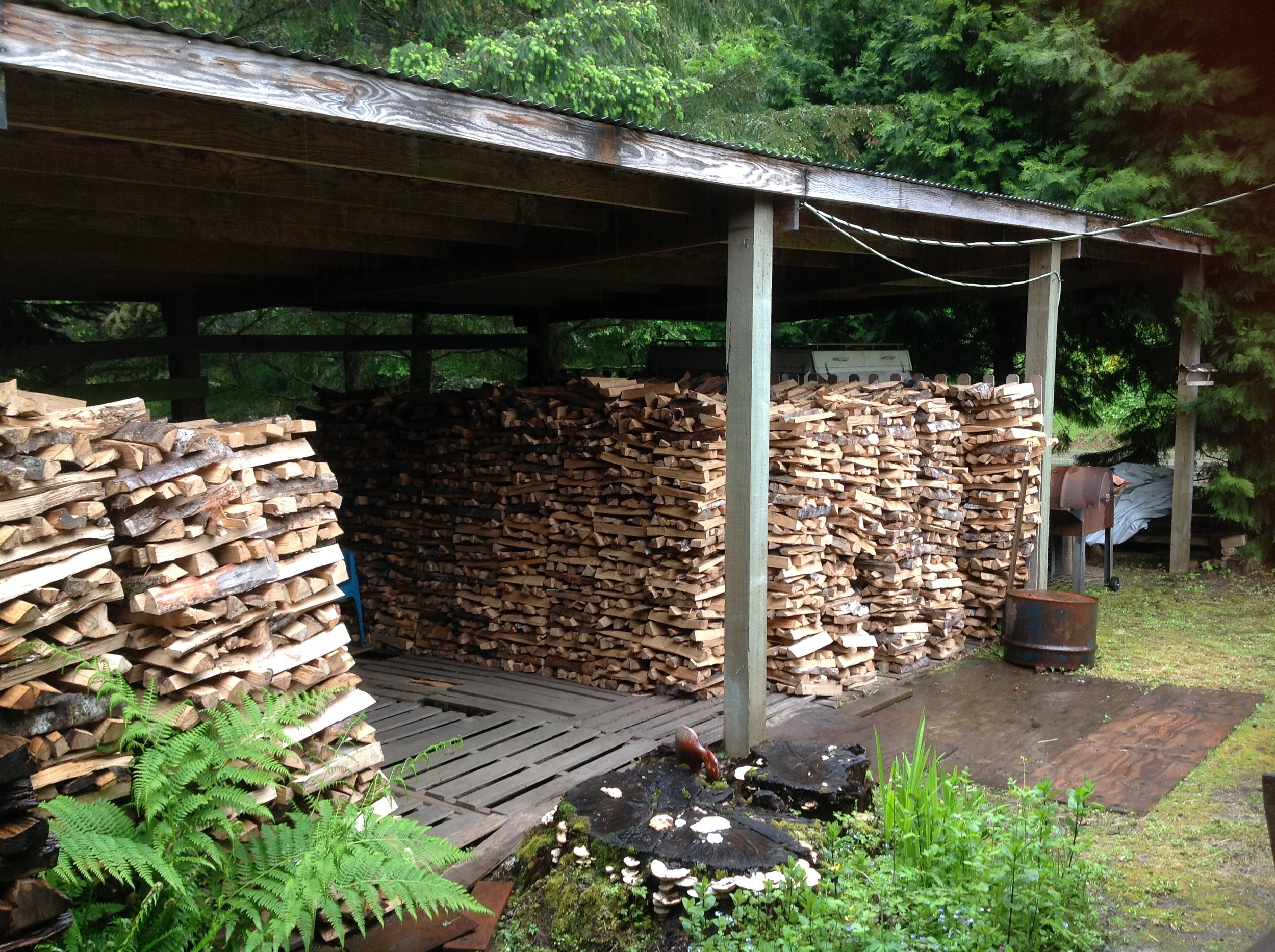 The firing may take around 100 hours.  The entire time it must be stoked around the clock.  This can take up to eight cords of wood.  The cooling period can take just as long before the kiln is ready to be unloaded.