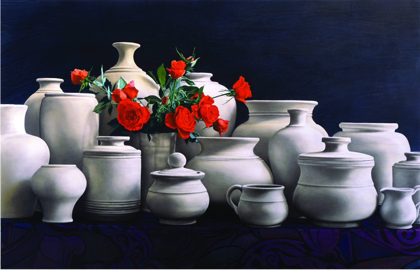 "Robert C. DeVoe,  Roses and Company , watercolor on paper, 44""x32"""