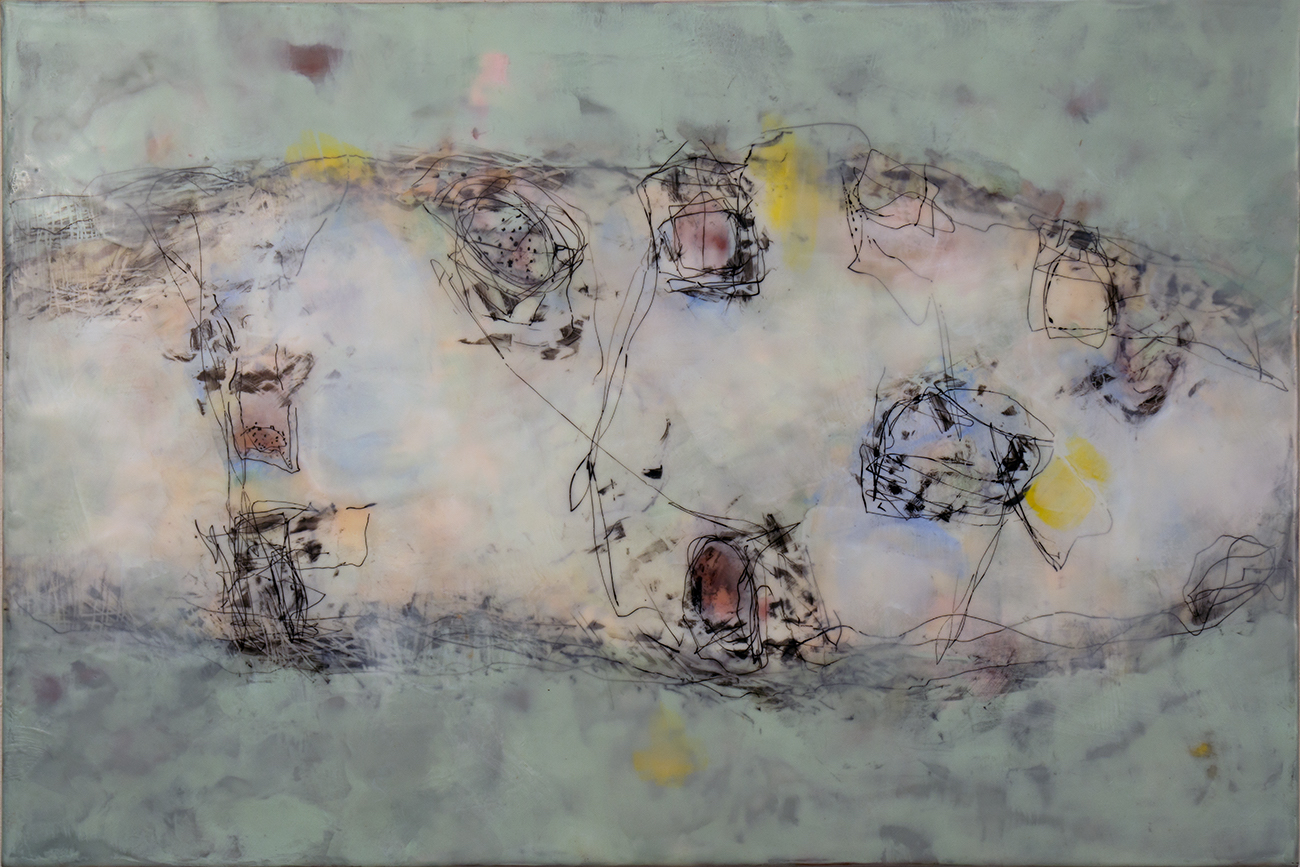 Flowing 2, 2019, encaustic, graphite & ink, 20x30