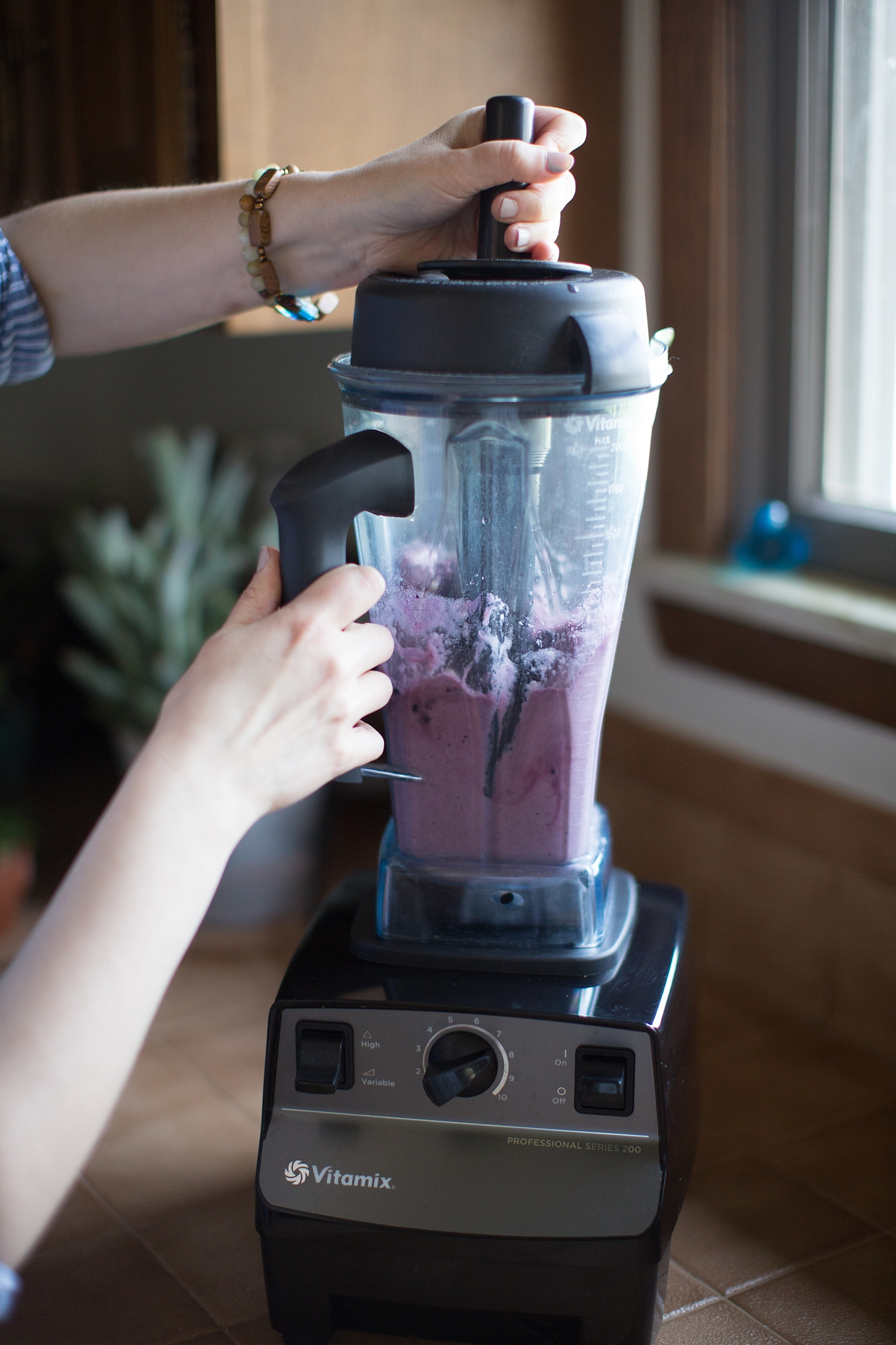 Step 5: If your blender comes with a tamper,you'll need to use it because this concoction is super thick.