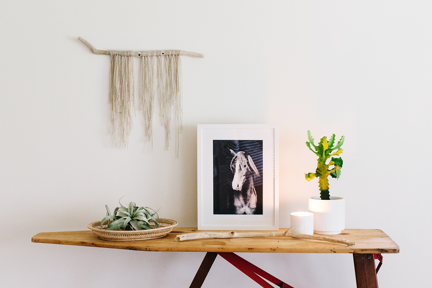Keeping the tones natural on a console table.