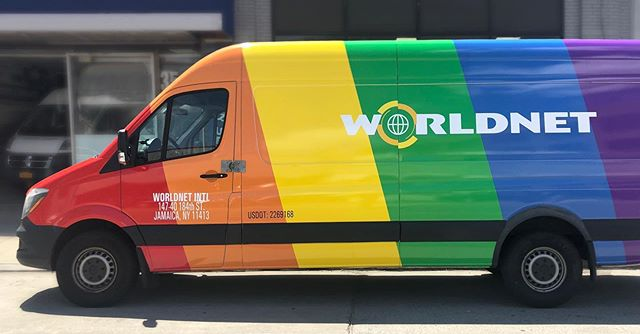 Coming to an office near you! For the month of June Worldnet is making deliveries throughout #NYC in our beautiful rainbow van.  See you on the road 🚐💨 and be sure to tag us when you see us ✨✨ #pride #rainbow #deliverlove #pride2019