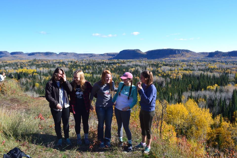 Alli, Anna, Lindsey, Ashley and me at the top of the trail near Thunder Bay.