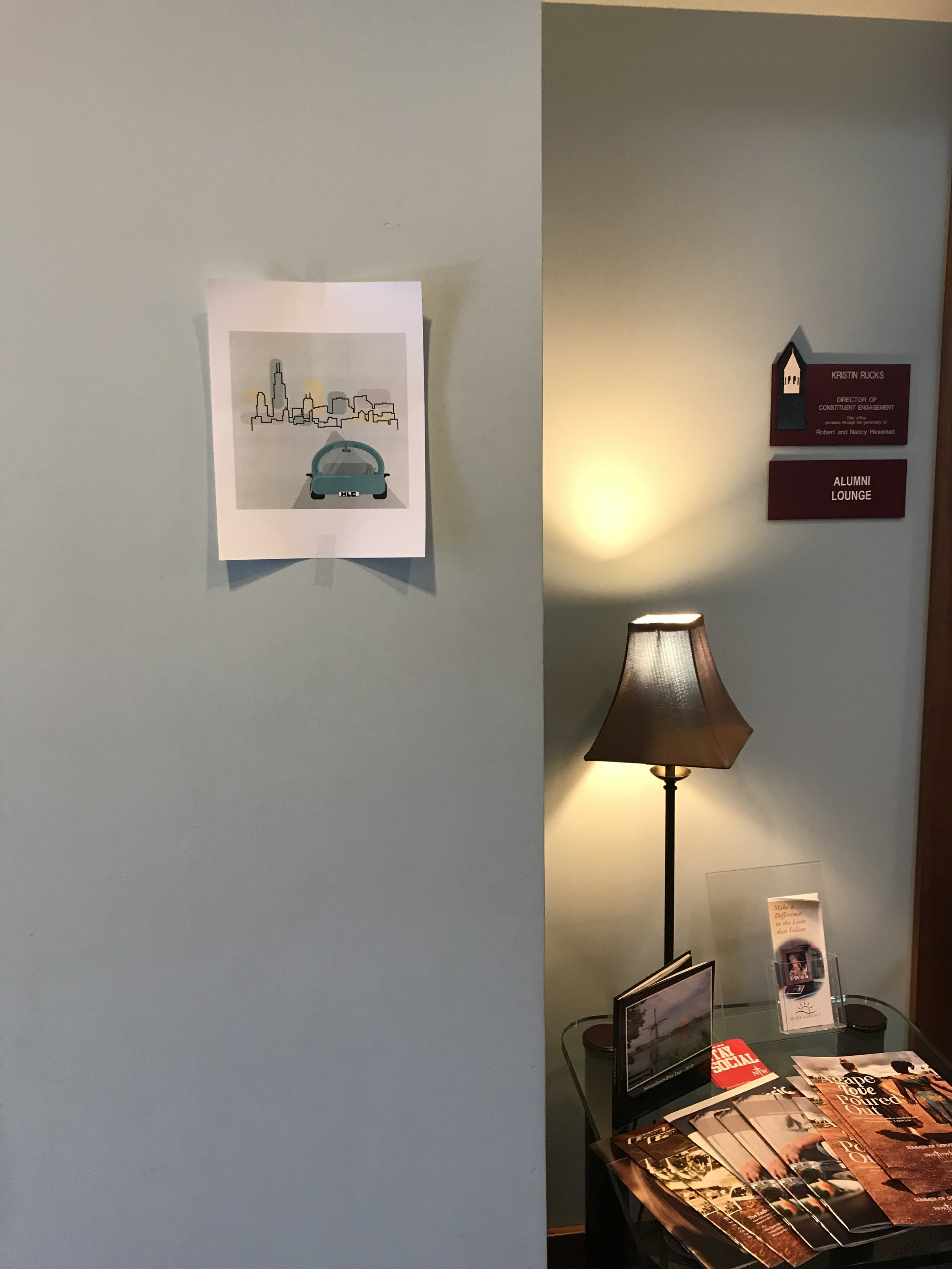 Here's a picture of my design that the NWC Advancment Office team printed out for me to see when I stepped out of the elevator at my work study.