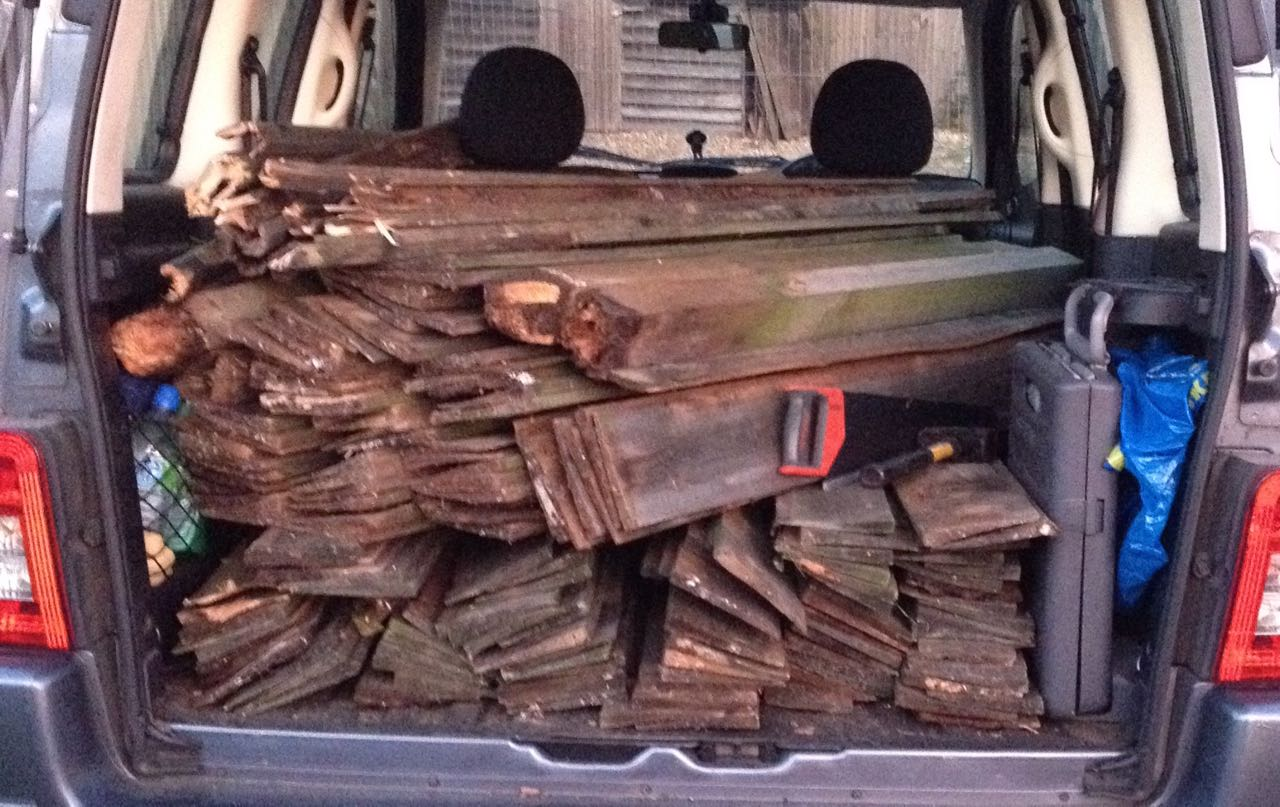 It is amazing how much wood you can harvest from a fence in a couple of hours and also pack into a car. The saw was rescued from a skip too. All with permission!