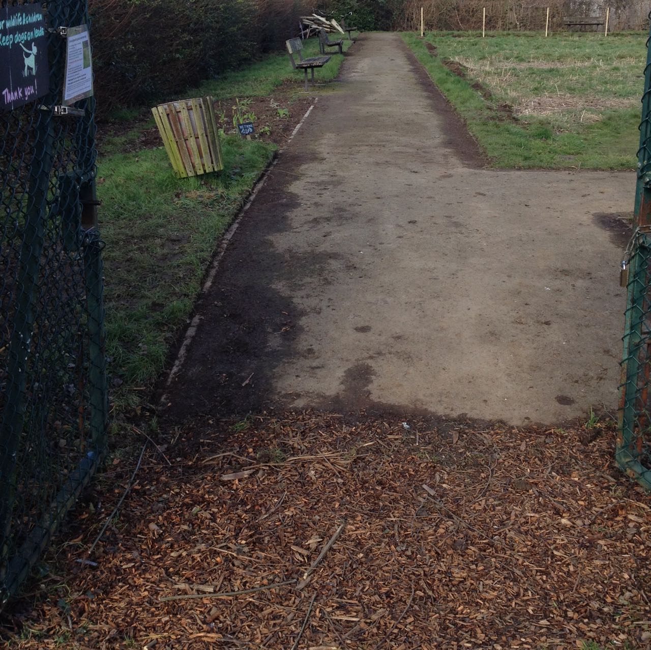 The entrance to the garden - with sharp edges.