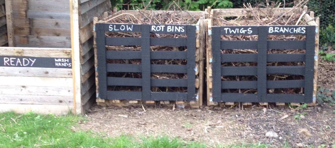 Our slow rot bins - they should be good creature habitats too