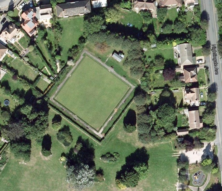 [?date] Google Earth image of the bowling green, before the peripheral path around the park was created.