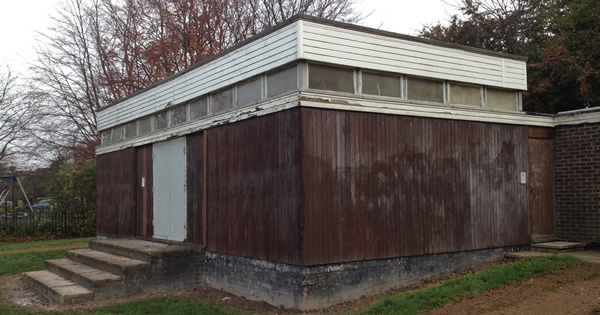 November 2014. The old pavilion, before it had a coat of preservative