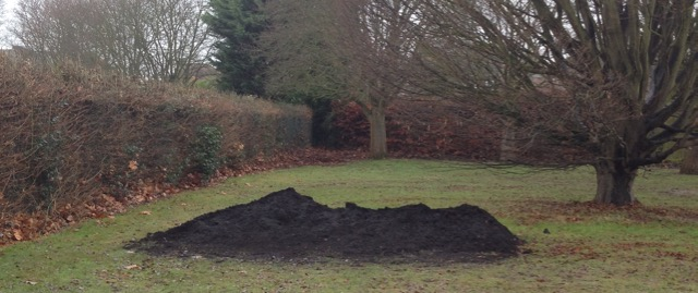 The mound after we had done lots of barrowing... very popular with park dogs - smelly and steaming!