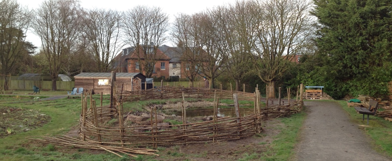 The fence around the pond at the end of day 1 of making.