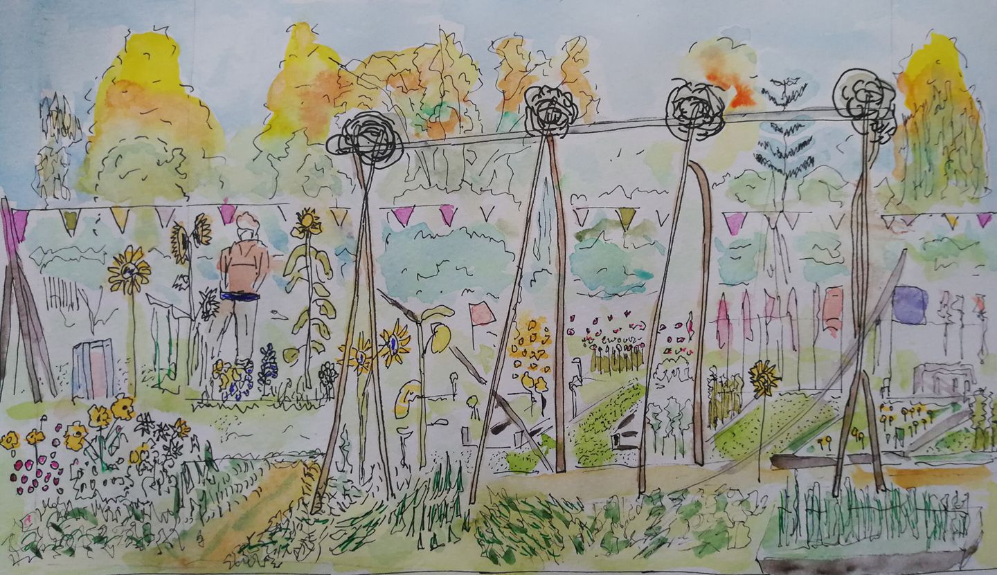 On Sunday, we hosted some urban sketchers and Alan Jarvis drew this lovely picture of the garden. Thanks Alan for letting us borrow it here.