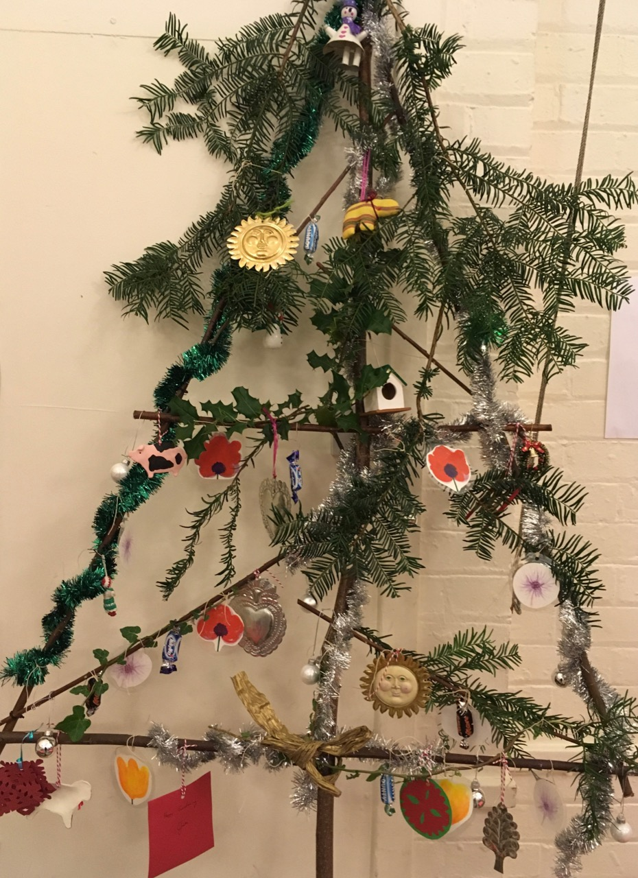 Our 'blingy' tree by Little Nigtingales. Slightly more scissoring than tying on…