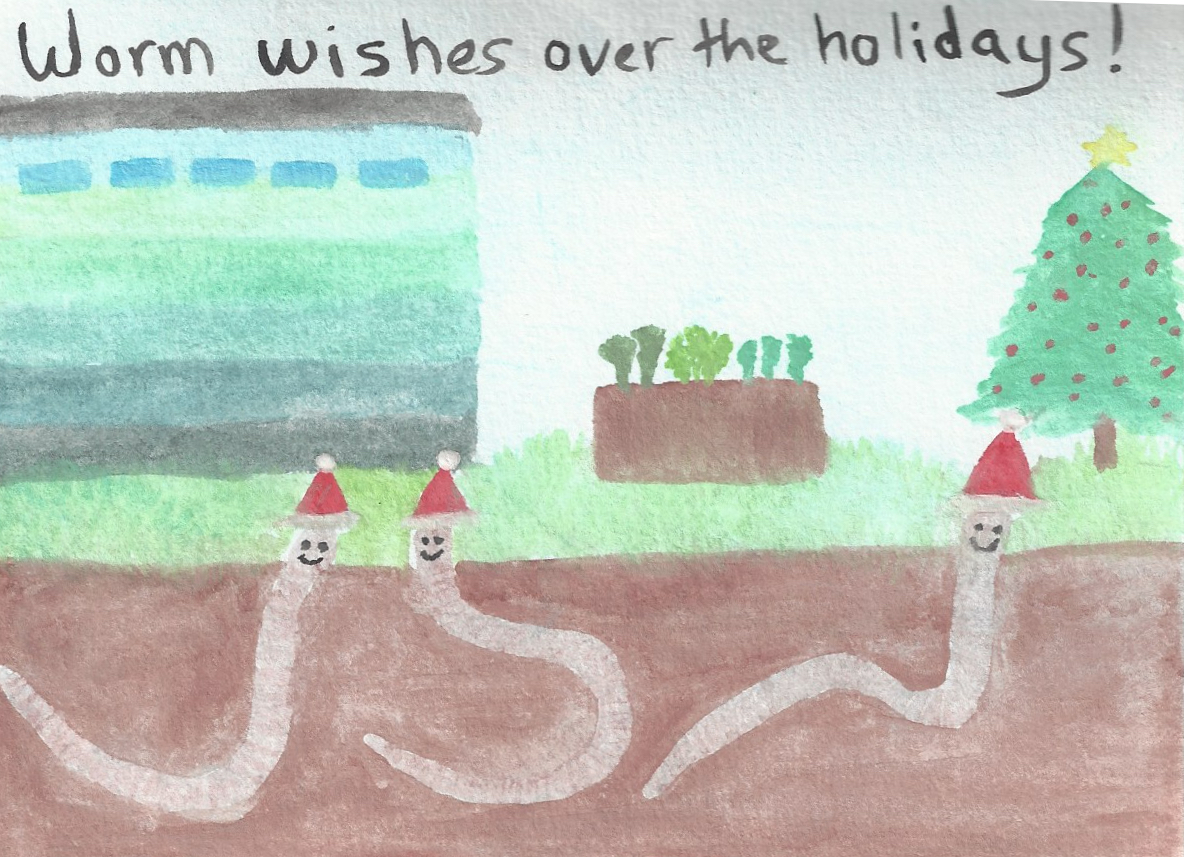 One (or more) of our volunteers painted this lovely card - with our ombre shed, growing veg and, of course some happy worms.