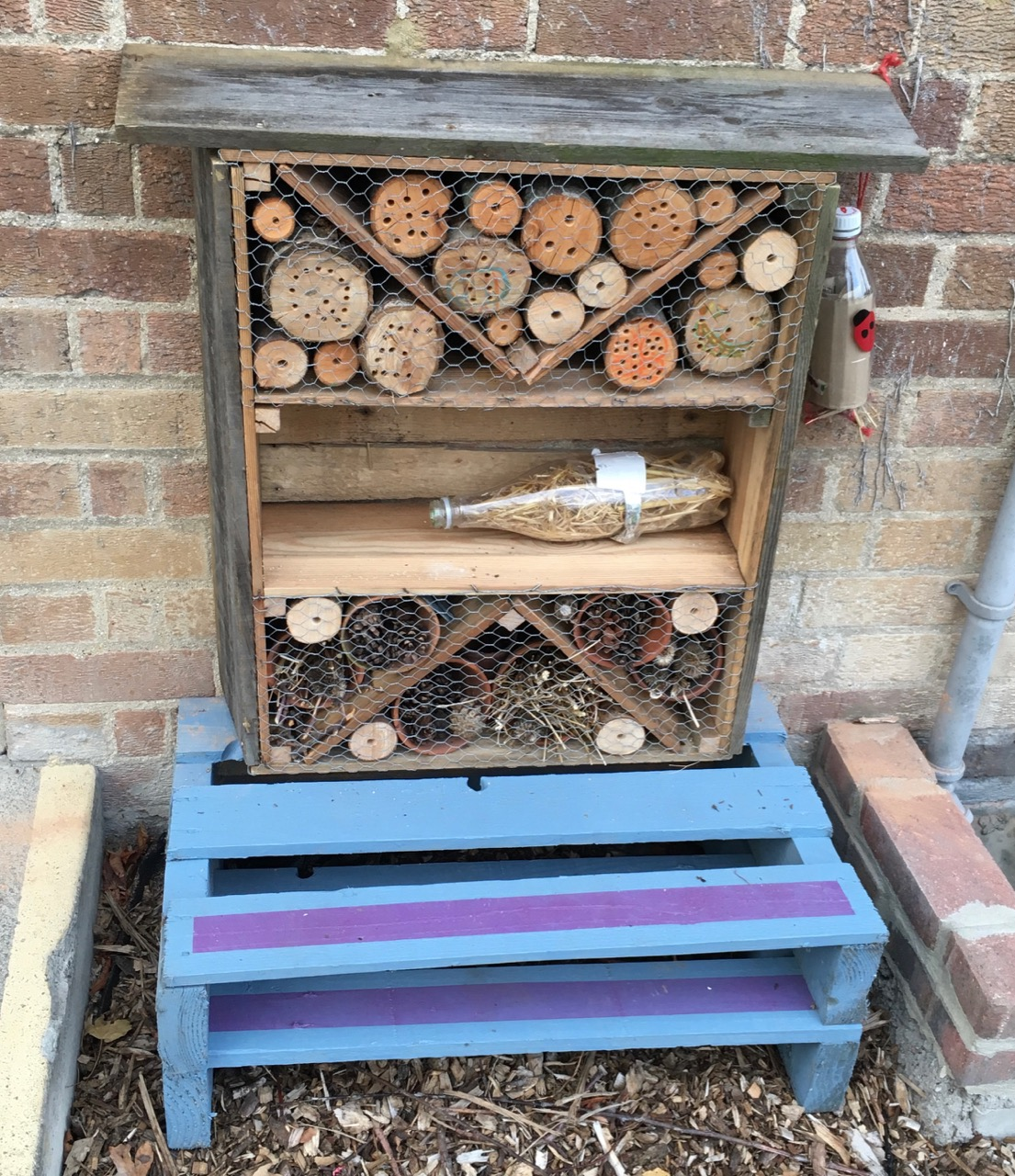 October 2018: mini bug hotel made from waste materials by parent volunteers and some school students. It was made at Nightingale community garden.