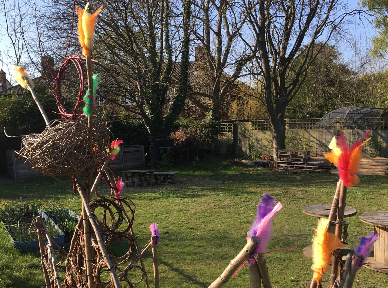 We still have some feathers in the garden, gently fading in colour. They are leftover from our Easter celebrations - a Swedish custom we learned about.