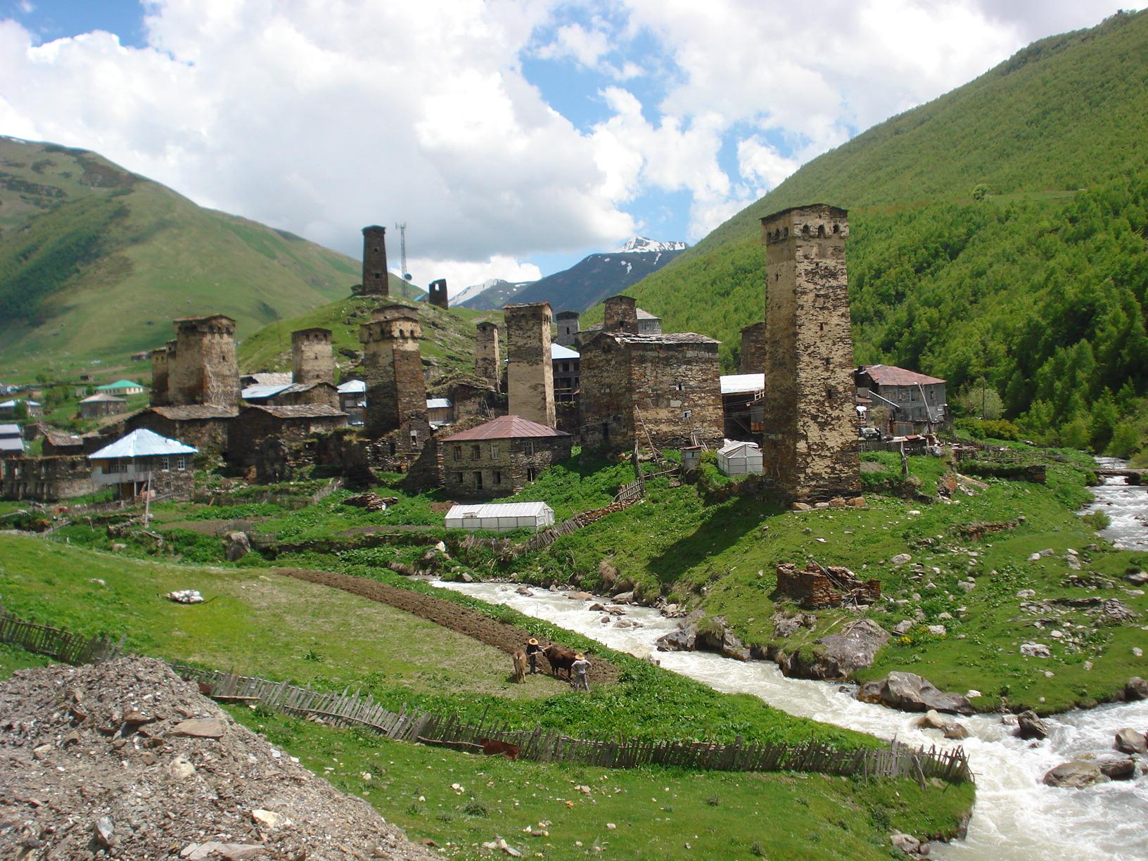 Ushguli located in Svaneti region of Georgia, close to Russian border. Spectacular mountainous setting among 9th Century watchtowers
