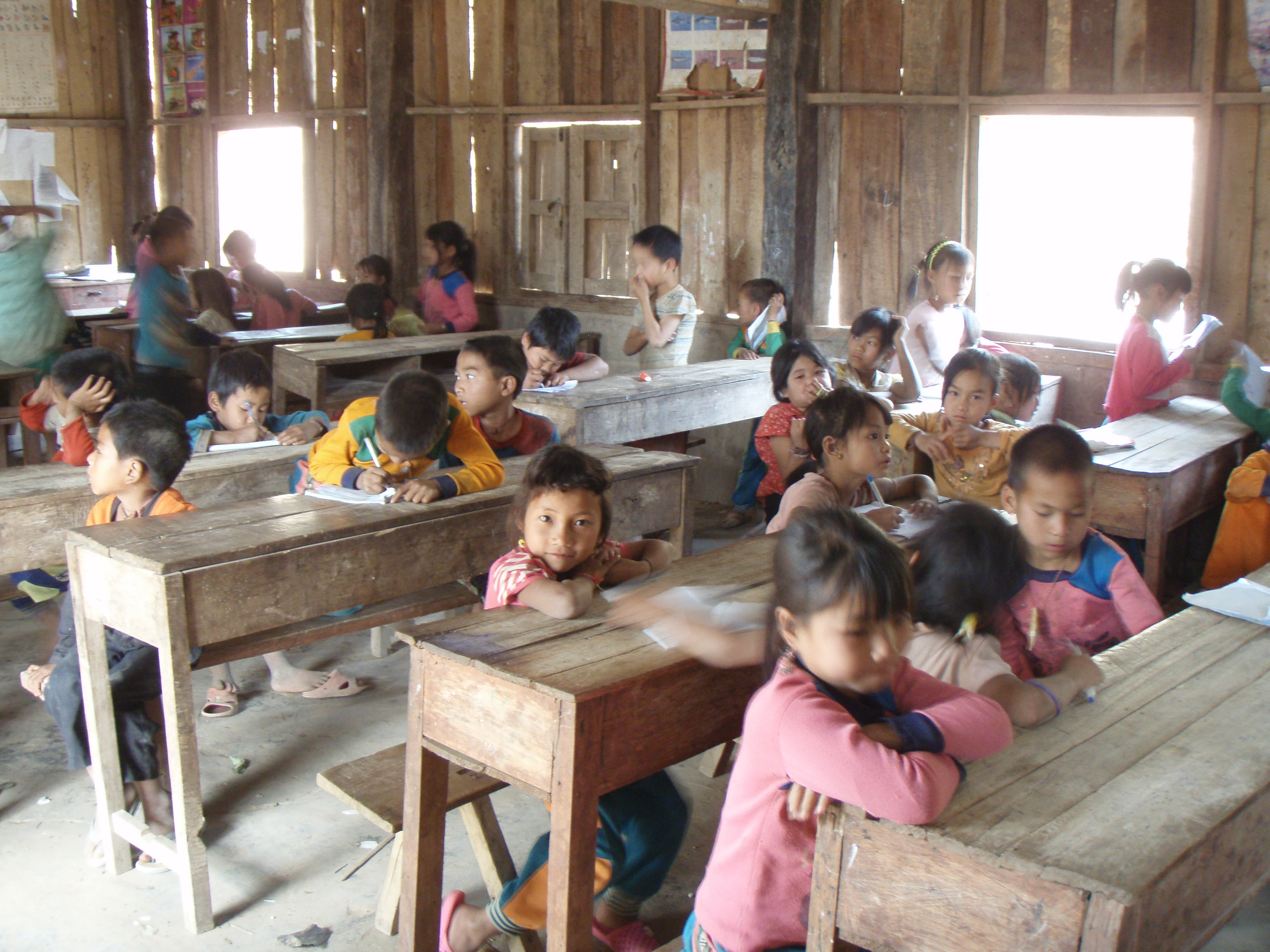 A Hmong hill-tribe classroom in northwestern Laos close to the village of Muang Sing.