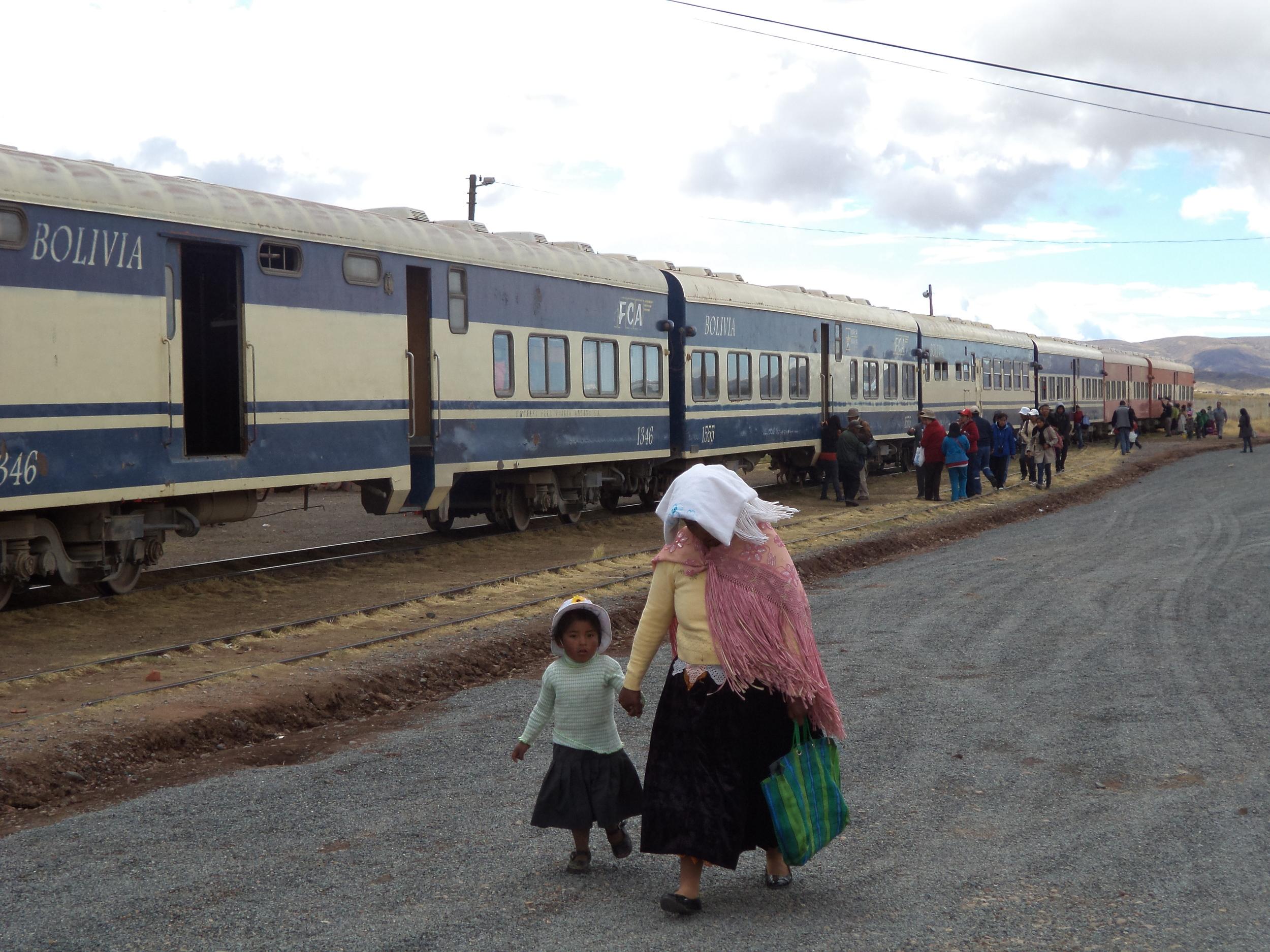 Train arriving small village in Bolivia close to border of Chile