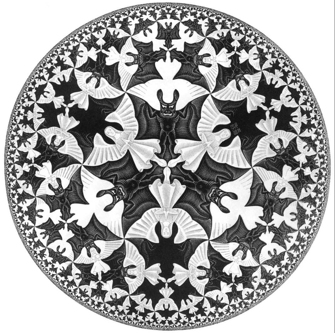 M.C. Escher, Circle Limit IV. From Wikimedia: https www.wikiart org:en:m-c-escher:circle-limit-iv