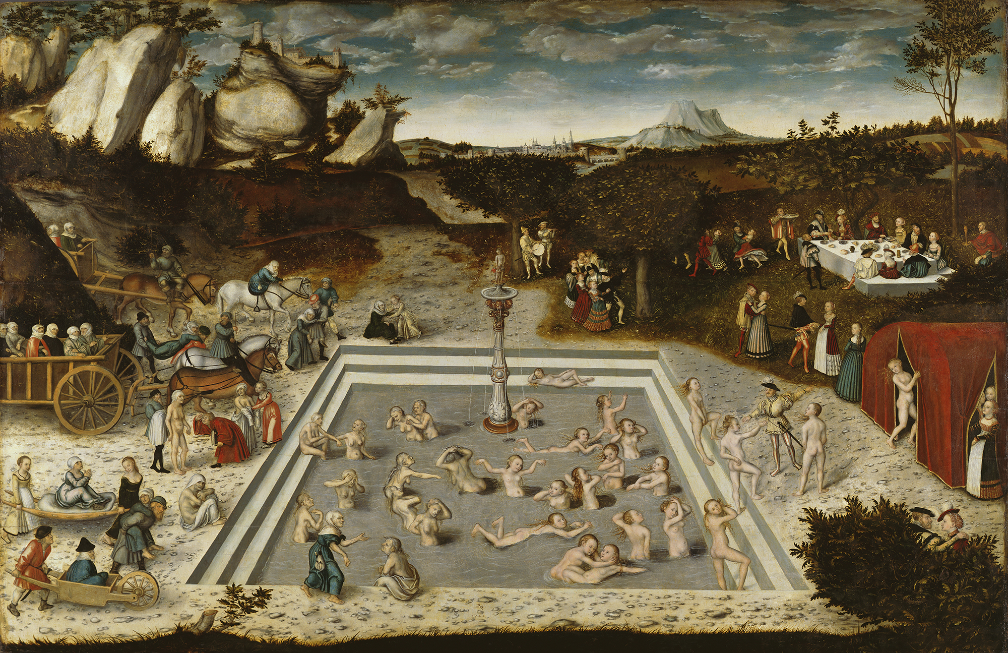 Lucas Cranach - Der Jungbrunnen (The Fountain of Youth), 1564 (Wikimedia Commons)