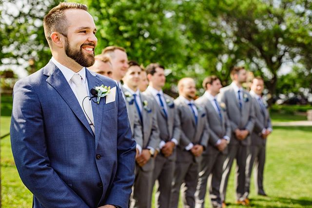 Mike made for quite the emotional groom watching his bride come down the aisle. (Swipe ➡️ to see all his feels)