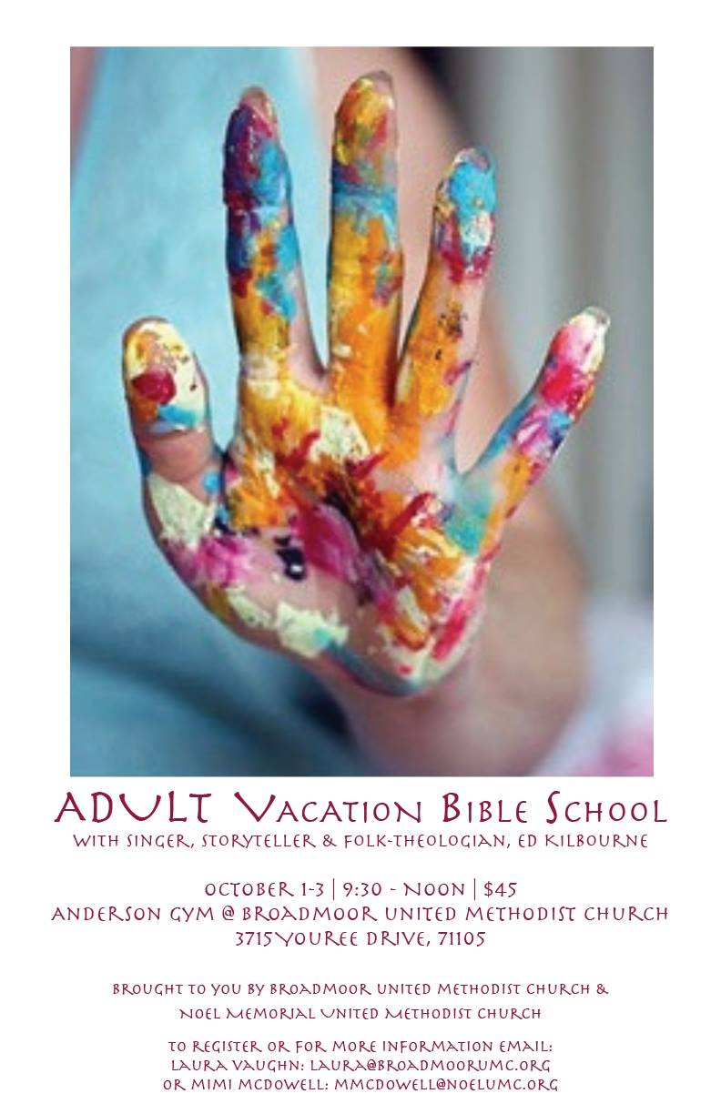 - In this Edition | September 20, 2018ADULT Vacation Bible SchoolFree Concert with Ed Kilbourne Sunday, Sept 30Planning for Festival de Noel Underway!Exciting Events Coming Soon for BUMC YouthMission Marketplace Nov. 2nd & 3rdand SO MUCH MORE!