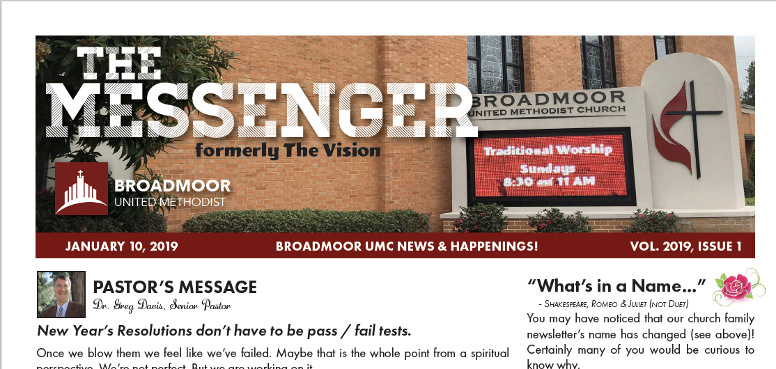 THE MESSENGER 1/10/2019 - Formerly The Vision…