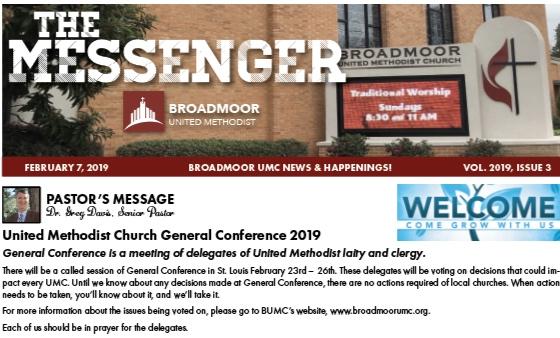 INSIDE THE MESSENGER 2/7/19… - Pastor's MessageUpdatesMission Trip OpportunitiesYouth, Children & Discipleship NewsThe RiverMemorials & HonorariumsAnd much, much more…