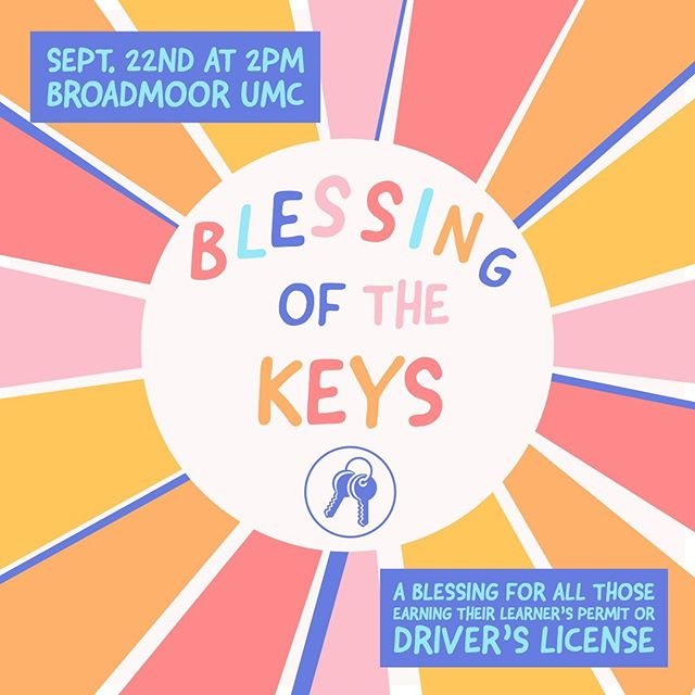 We're so excited about Sunday! If you are currently earning your learners permit, drivers license, or have not yet had your keys blessed, we would LOVE for you to join us this Sunday at 2pm for our blessing of the keys! As a special gift, we have a carved Broadmoor UMY keychain for each of you. We hope to see you there!