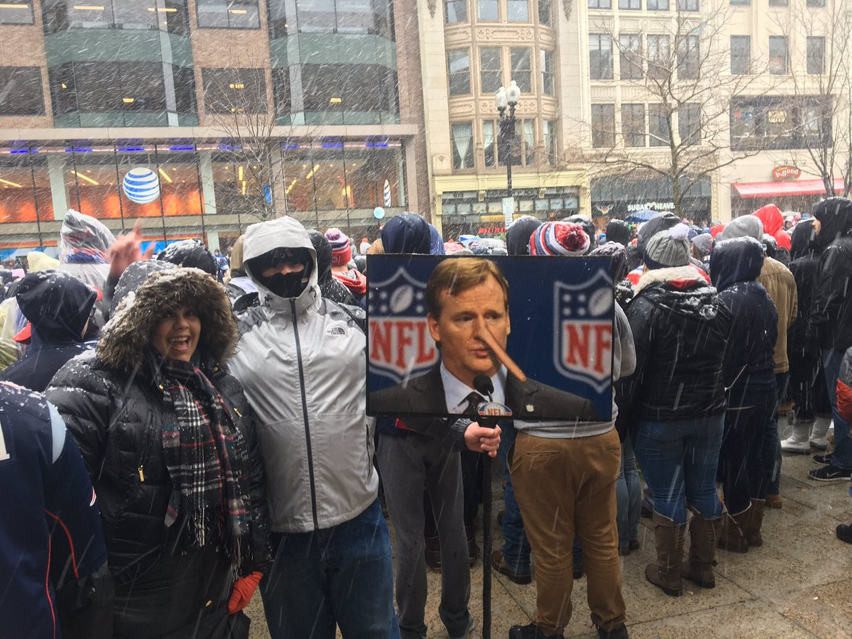 Celebrating the Patriots Super Bowl victory, fans poked fun at the most despised man in town: NFL Commissioner Roger Goodell, whom they claim deliberately and arrogantly tried to sabotage the Patriots historic winning season.