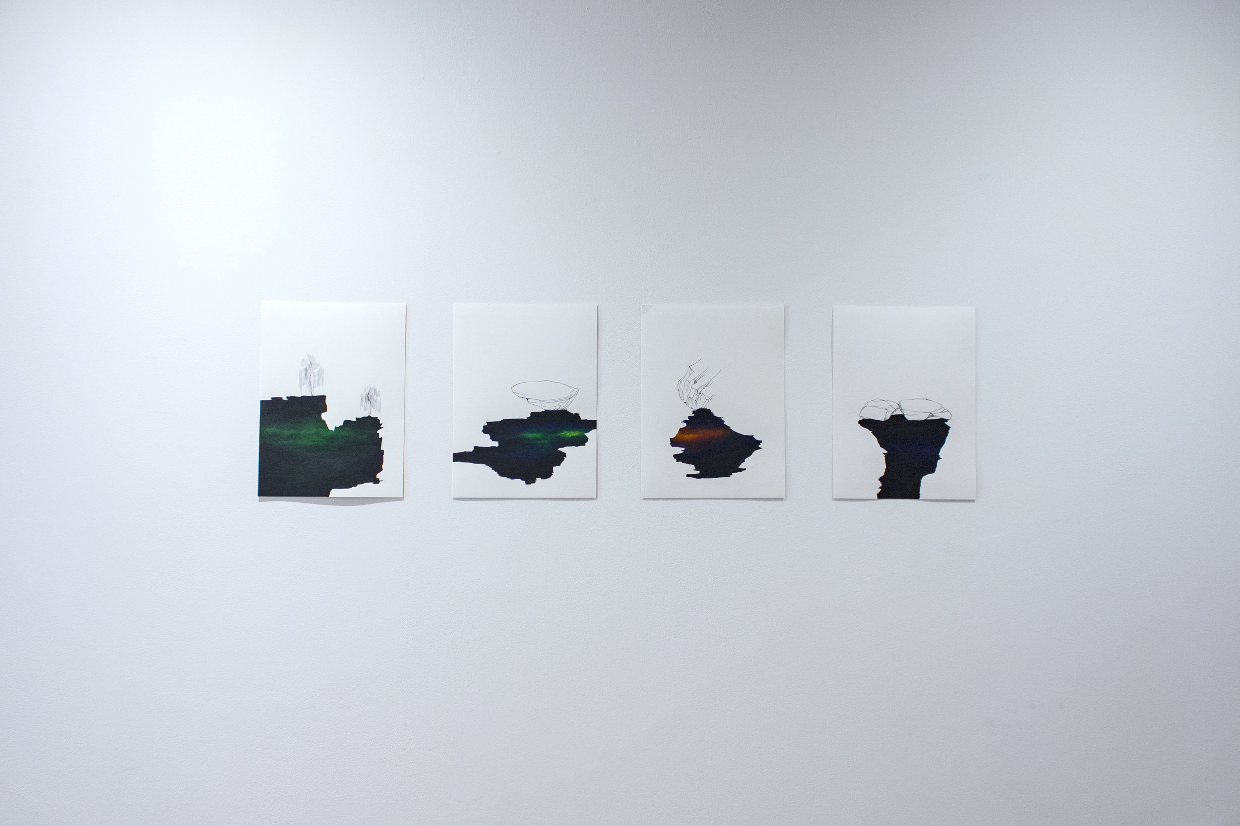 spills  (1) a tree made for drawing  (2) an exercise in balance in green  (3) unbuilt, unbuildable  (4) cold water