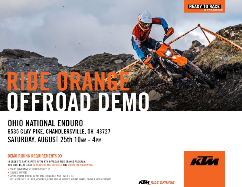 Check Out the KTM Demos on Saturday.