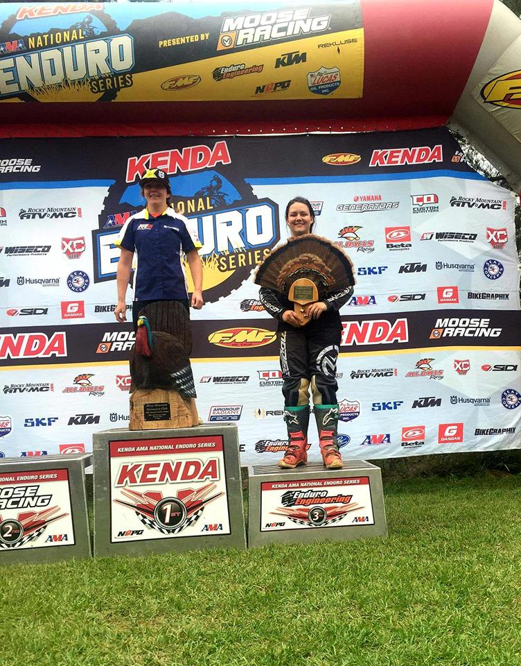 Jessica with a 3rd place finish at last years Gobbler Getter National Enduro in Alabama.