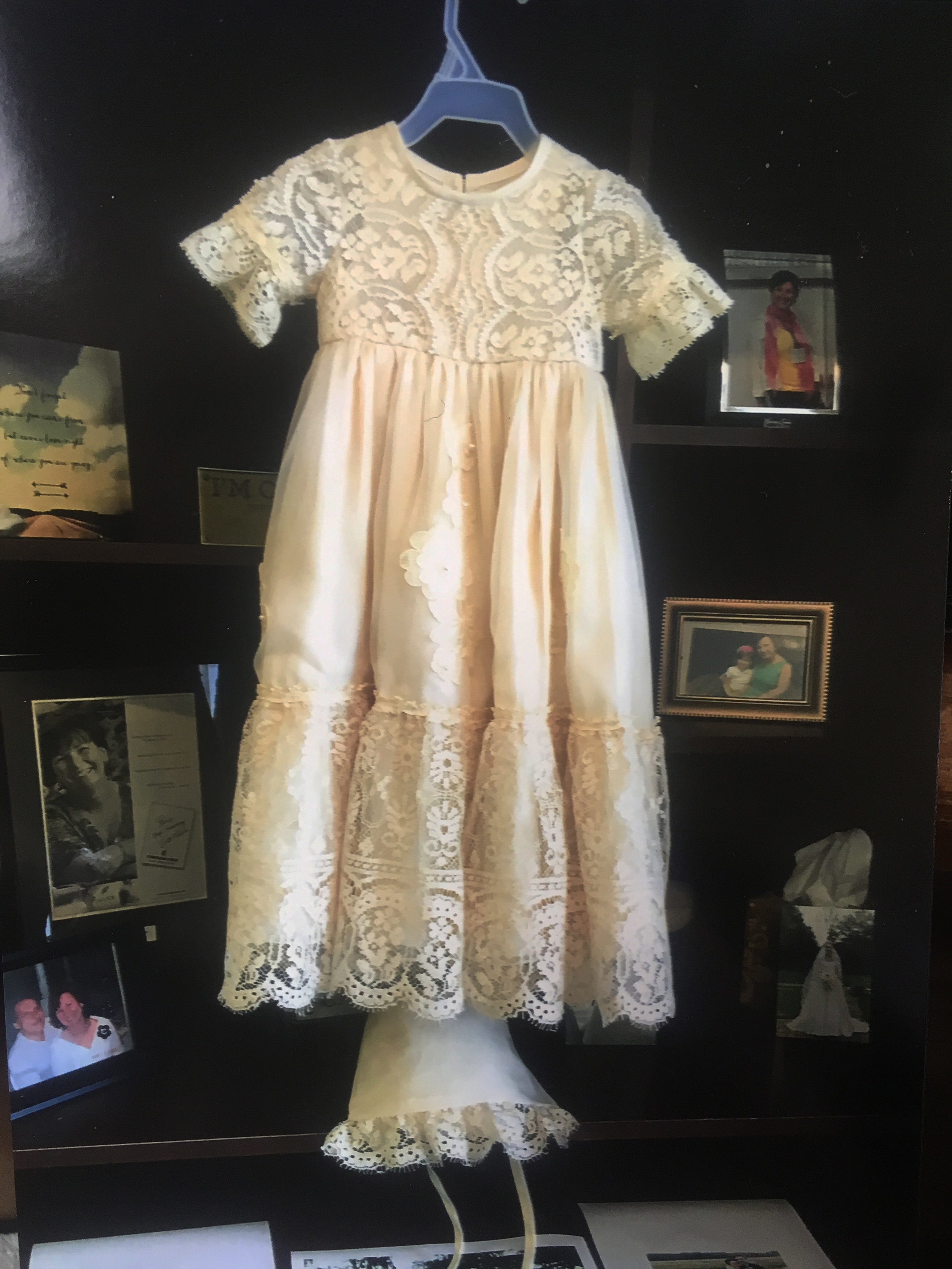 From a Grandmother's wedding gown to a christening gown made by Paula.
