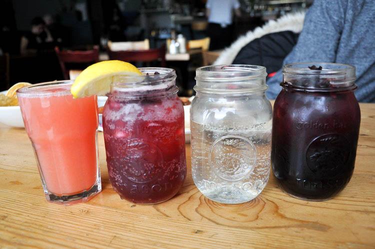 Grapefruit juice (4), hibiscus lemonade (3), hibiscus iced tea (3).