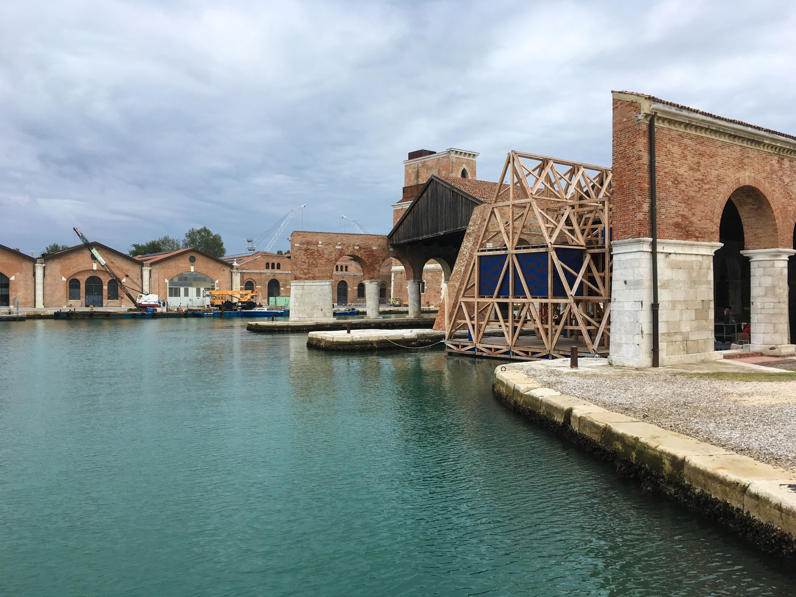 The outdoor area of the Arsenale, one of the venues of the Biennial in Venice.