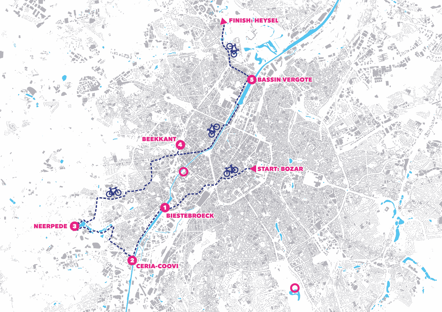 The route of the cycling tour,22 km in 4 hours.