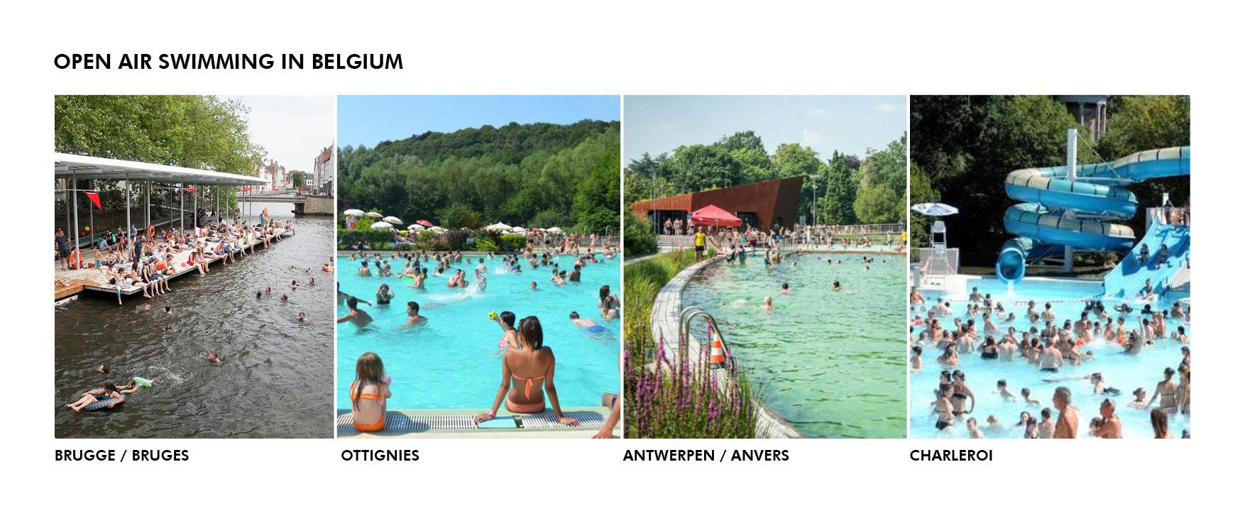 Public outdoor swimming all around Belgium.