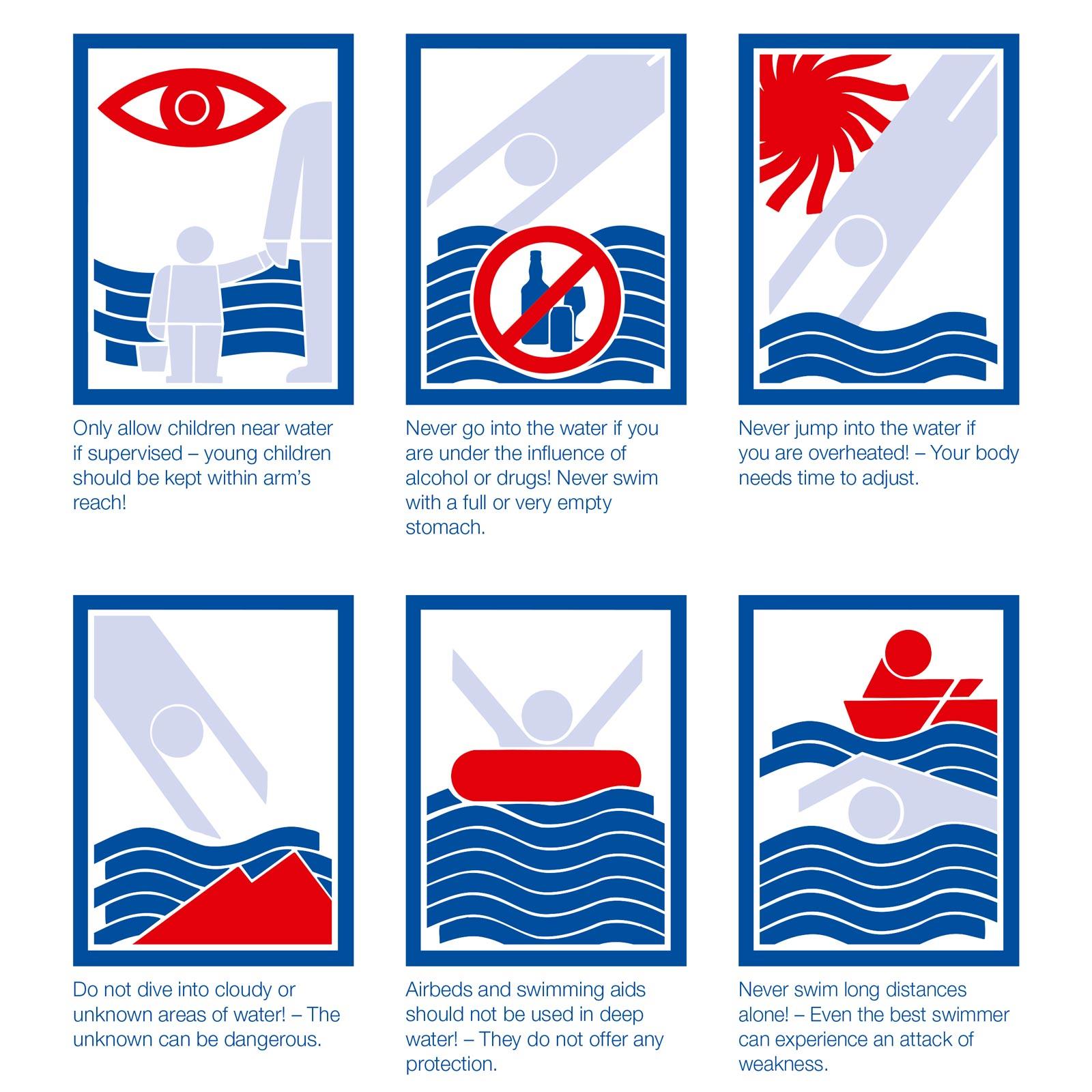 Basic swimming rules in Switzerland / Règles de base de la natation en Suisse / Algemene zwemregels in Zwitserland - © SLRG SSS