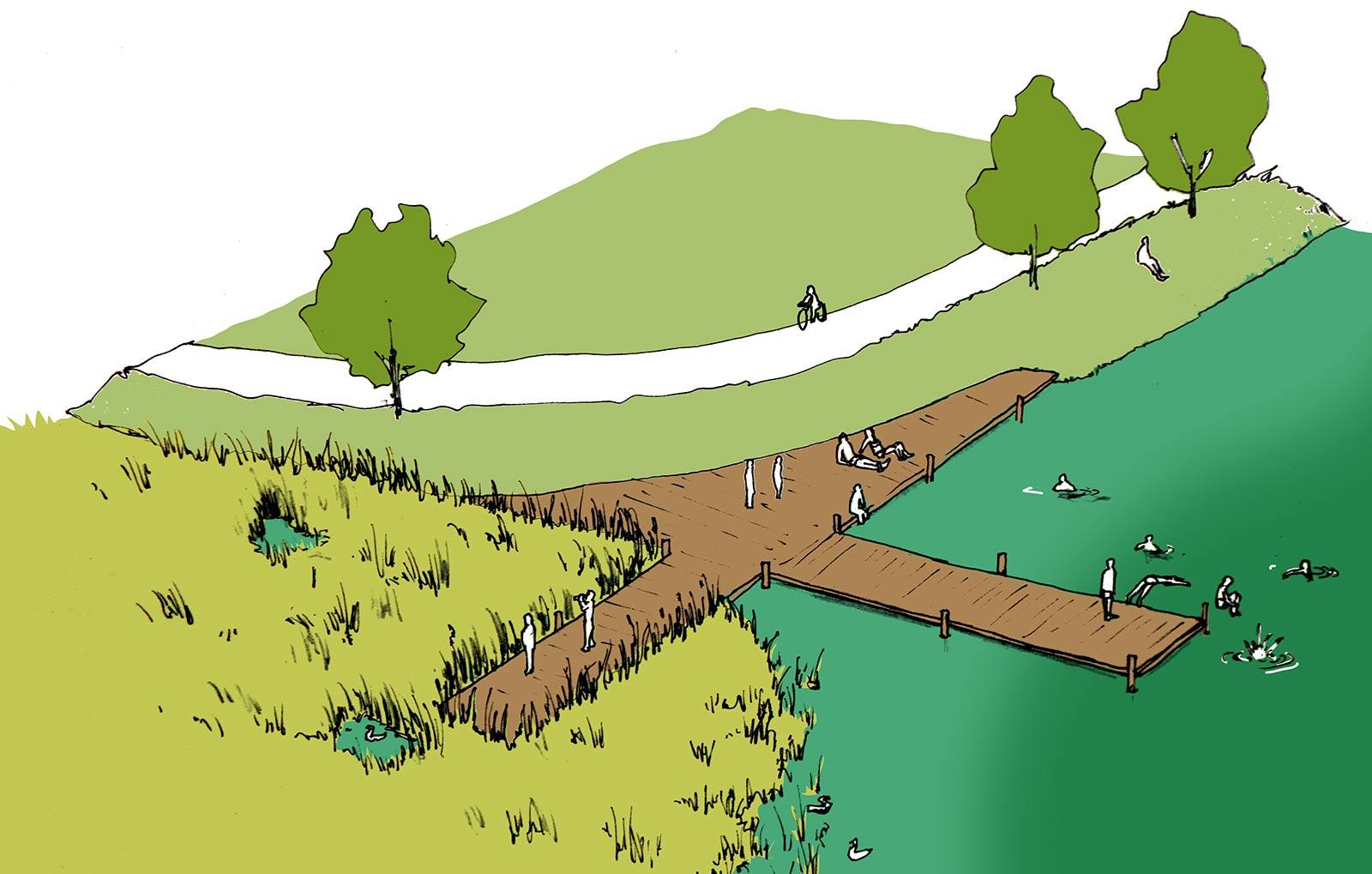 Minimal infrastructure makes the lake accessible to swim and discover nature / L'infrastructure minimale rend le lac accessible à la baignade et à la découverte de la nature / Minimale infrastructuur maakt het meer toegankelijk om te zwemmen en de natuur te ontdekken.